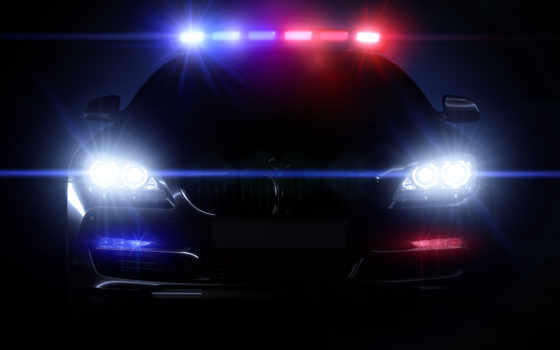 night, car, police, headlight, light, front, lamp, motor, lights,