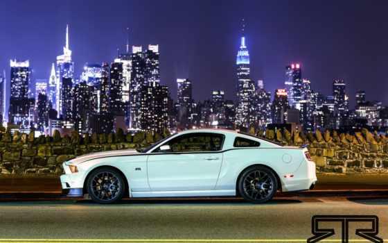 ford, mustang, white, turbo, высотки, twin, ночь, нью, york,