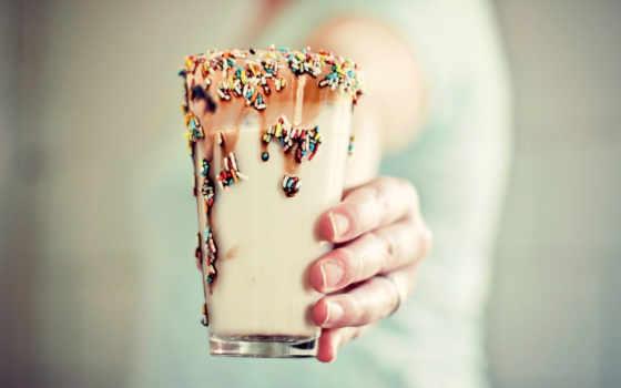 коктейль, коктейли, напиток, молочные, glass, макро, рука, молочный,