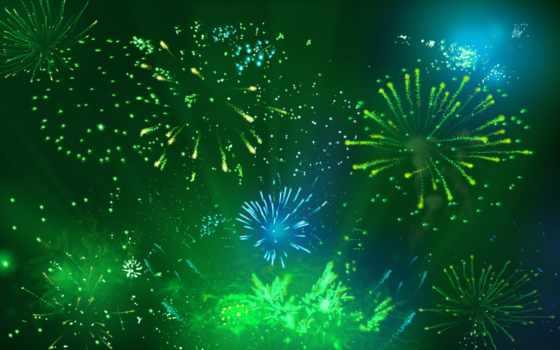 fireworks, фон, зелёный
