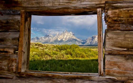 окна, горы, взгляд, teton, окно, grand, windows, park, national, изба, природа,