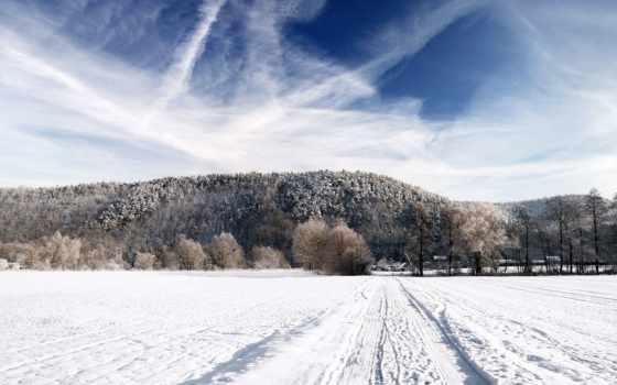 снег, поле, природа, winter, лес, небо, landscape, дорога, горизонт, дома, картинка,