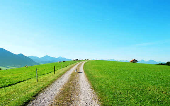 summer, дорога, трава, забор, природа, домики, пейзажи -, небо,