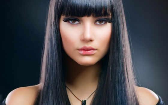 сделать, глаз, волосы, long, брюнеток, макияж, красной, помаде, помадой, волос,