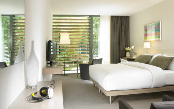 hotel, интерьер, спальня