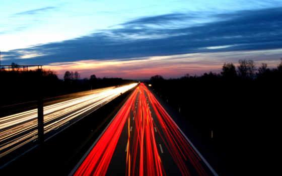 дорога, вечер, огни