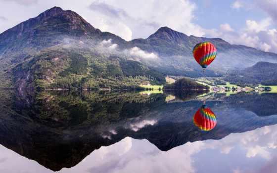 aerial, мяч, воздушные, горы, озеро, шары, отражение, природа,