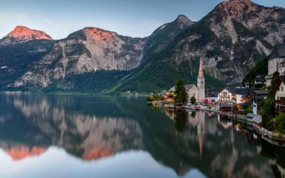 austrian, плохой, озеро, гальштат, горы, дома, synthfrax, альпы, stoylovsky, австрия, вечер,