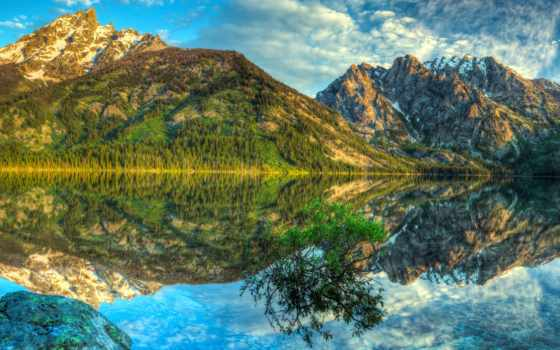 отражение, озеро, зеркало, горы, oblaka, небо, яркий, bush,