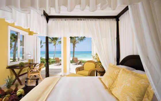 море, комната, ocean, квартира, отели, landscape, тепло, bay, спальня, интерьер, hotel,