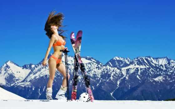 лыжи, devushki, девушка, снег, ski, купальнике, буковеле, лыжах, горы,