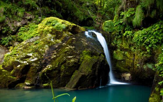 rock, большой, водопад, мох, water, small, зелёный, ручей