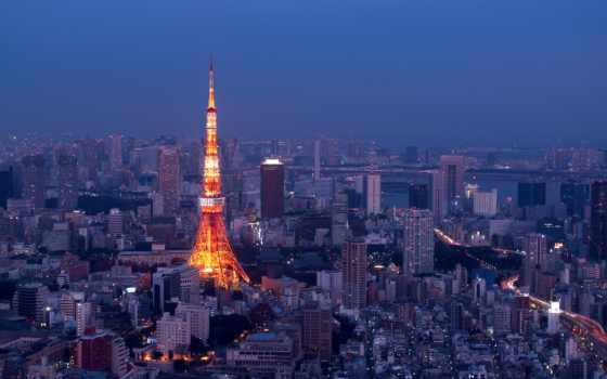 tokyo, tour, nuit, город, gratuit, japan, télécharger, illuminée,