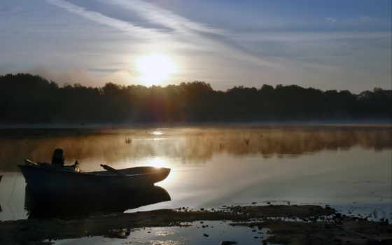 озеро, утро, fap, лодка, природа, победы, дек, favourite, красивые, пейзажи -, туман,