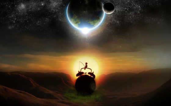 луна, boy, land, planet, rod, часы, спутник, звезды, тревога, sun, закат,