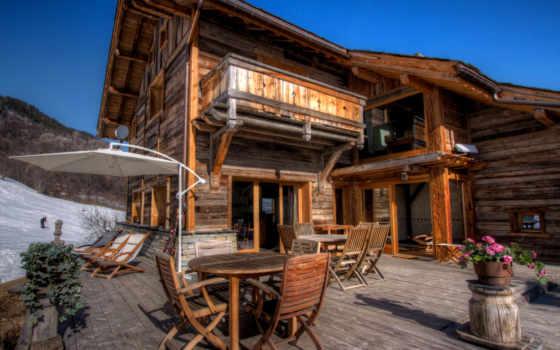 интерьер, горы, lodge, wooden, house, снег, широкоформатные, стулья, winter, шезлонги,