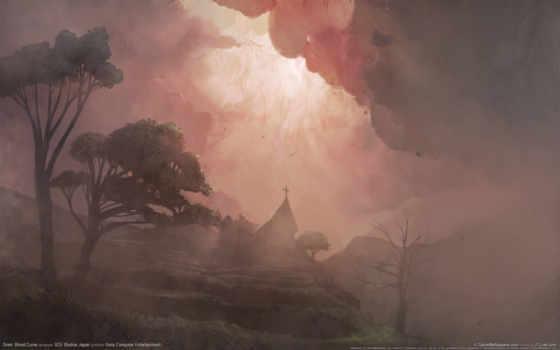 рисунок, туман, деревья, церковь, игры, game, смотрите, siren, природа, games, curse, blood,