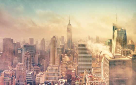 нью, йорк, дым, манхэттен, смог, картинка, картинку,