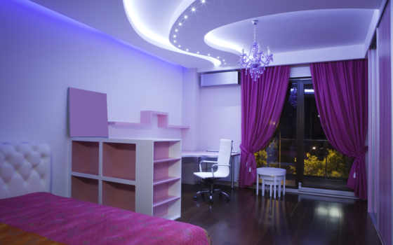 purple, bedroom, geometric, натяжные, ceiling, design, кресло, шторы, комната, постель, люстра, потолки, окно,