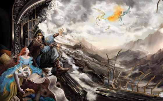 фэнтези, scrolls, skyrim, elder, драконы, довакин, игры, fanart,