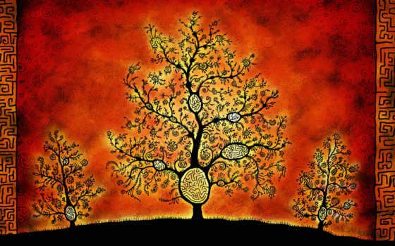 фон, дерево вектор, Дерево, стиль