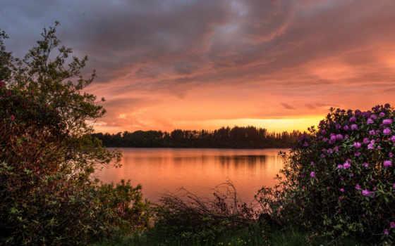закат, озеро, desktop