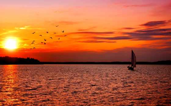 закат, парусник, лодка