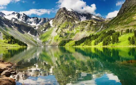 горы, озеро, снег Фон № 84338 разрешение 1920x1080