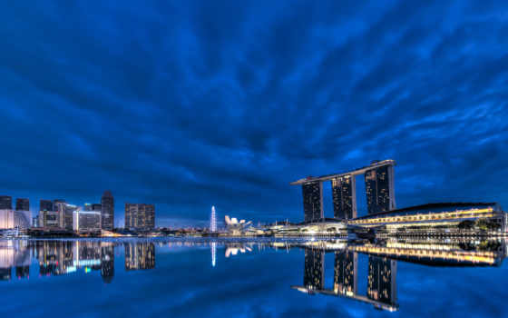 bay, gardens, singapore, ночь, architecture, skyscrapers, blue, огни, небо, город,