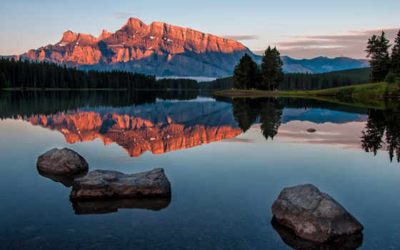 озеро, jack, minnewanka, два, banff, восход, images, гора, канада, photos, stock,