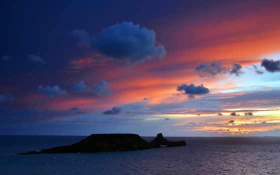 остров, море, одинокий, природа, desktop, wales, горизонт,
