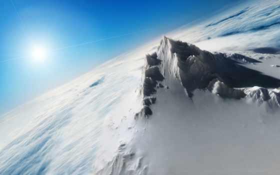 снег, height, top, горы, oblaka, пейзажи -, landscape, гора, heaven, птичьего, высоты,