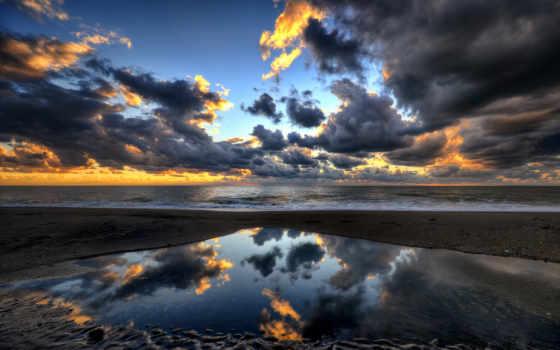 pantalla, cielo, fondo, paisaje, nuboso, hdr,