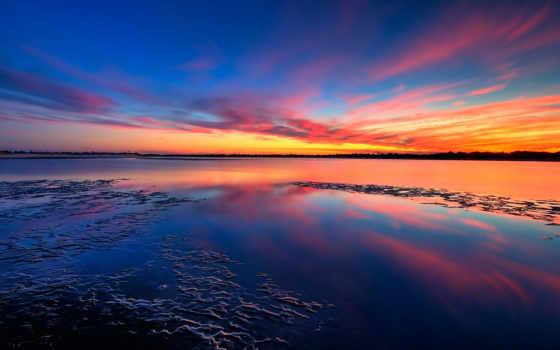 sunset, beach, nature