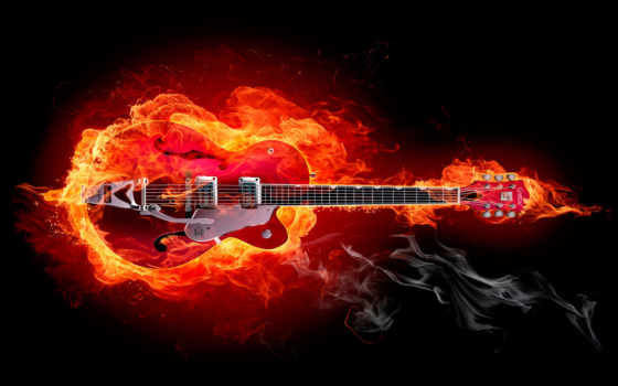 гитара, огне, электрогитара