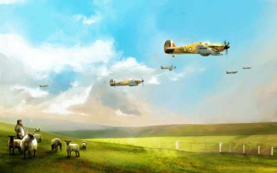 красивый, британские, самолеты