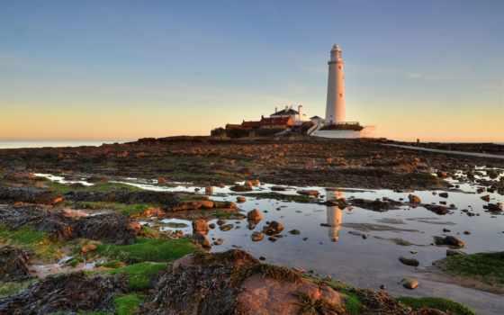 lighthouse, whitley, мэри, природы, bay, модульная, часы, море, закат, картинка,