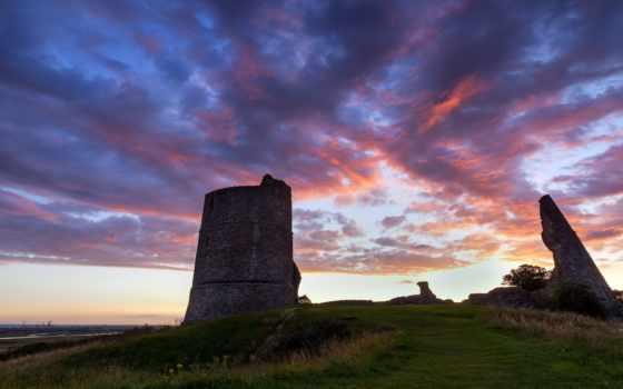 закат, трава, зелёный, розовый, восход, castle, essex, united, kingdom,