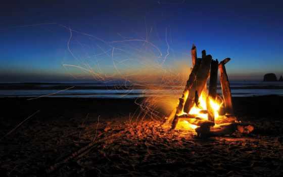 огонь, пляже, страница, берегу, пляж, моря, ли, сердце, костры,