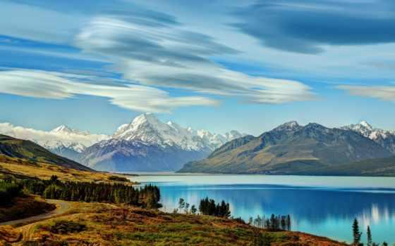 озеро, pukaki, горы, новая, природа, небо, zealand, alcatel, картинка, музыка,