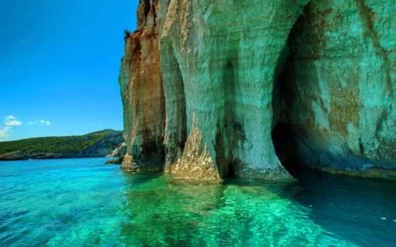природа, tropics, грот, море, скалы, greek, небо, пляж, landscape,