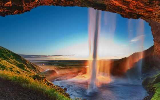 iceland, seljalandsfoss, водопад, качественные, предпросмотром,