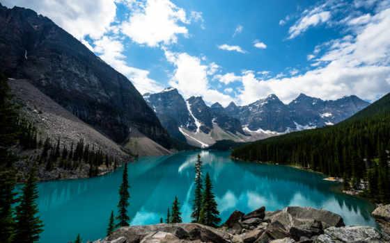 озеро, moraine, горы, небо, канада, канадский, лес, природа, clouds,