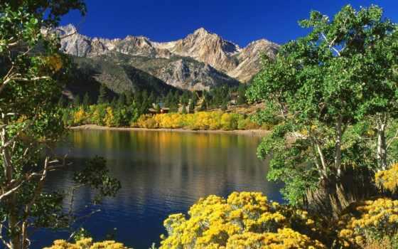 parede, papel, montanhas, lago, para, paisagens, природа,