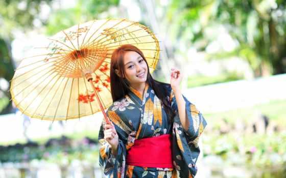 девушка, кимоно, japanese, японская, блики, зонтик,