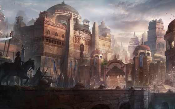 art, castle, город, мост, замки, люди, шествие, gate, fantasy, всадник,