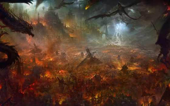 хостинг, art, битва, огонь, драконы, демоны, fortress, армия,