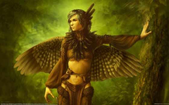 девушка, птица, крылья, перья, art, дерево, лес, широкоформатные,