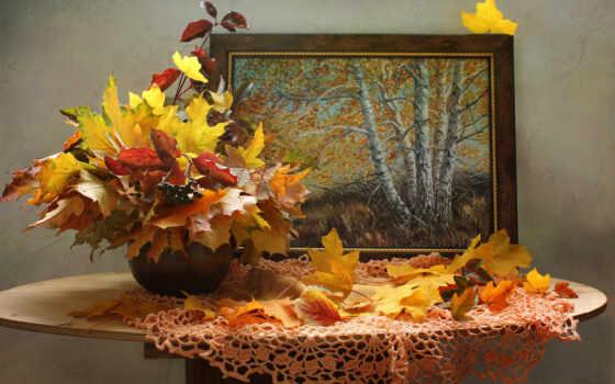 картинка, ваза, интерьер, лист, живопись