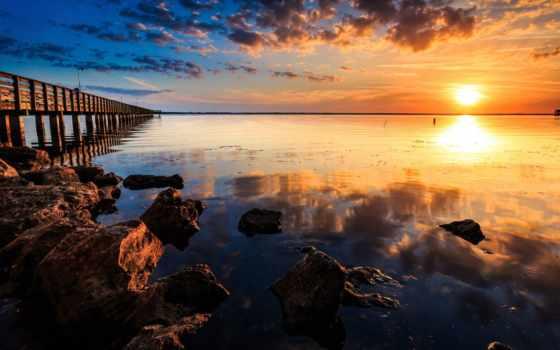 ocean, тихий, природа, страница, красивая, картинка, красивые, landscape, sun, full,